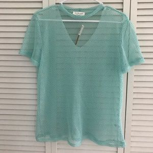 Mint green fishnet work out top